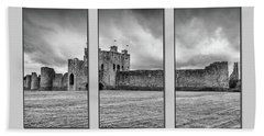 Trim Castle Triptych  Beach Towel