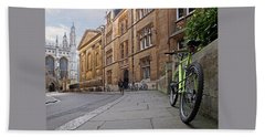 Beach Towel featuring the photograph Trinity Lane Clare College Cambridge Great Hall by Gill Billington