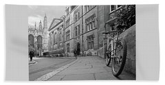 Beach Towel featuring the photograph Trinity Lane Clare College Great Hall In Black And White by Gill Billington