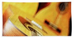 Trio Of Acoustic Guitars Beach Towel by Lincoln Rogers