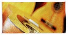 Trio Of Acoustic Guitars Beach Towel