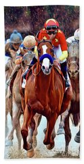 Triple Crown Winner Justify Beach Towel