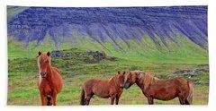 Beach Sheet featuring the photograph Triple Horses by Scott Mahon