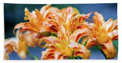 Beach Towel featuring the photograph Triple Lilies by Linda Segerson