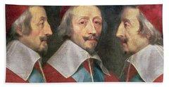 Triple Portrait Of The Head Of Richelieu Beach Towel by Philippe de Champaigne