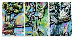 Beach Towel featuring the painting Triptych Of Three Trees By A Brook by Genevieve Esson