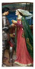 Tristan And Isolde With The Potion Beach Towel by John William Waterhouse