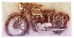 Triumph Speed Twin 2 - 1937 - Vintage Motorcycle Poster - Automotive Art Beach Towel
