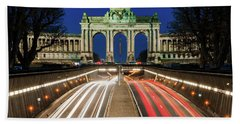 Beach Towel featuring the photograph Arcade Du Ciquantenaire At Blue Hour by Barry O Carroll
