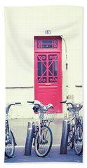 Beach Towel featuring the photograph Trois - Three Bicycles In Paris by Melanie Alexandra Price