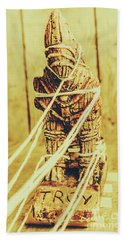 Trojan Horse Wooden Toy Being Pulled By Ropes Beach Sheet by Jorgo Photography - Wall Art Gallery
