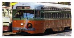 Trolley Number 1080 Beach Sheet by Steven Spak