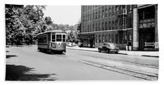 Beach Towel featuring the photograph Trolley With Packard Building  by Cole Thompson