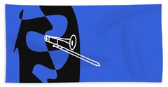 Trombone In Blue Beach Towel