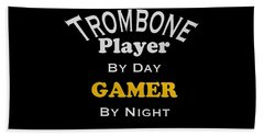 Trombone Player By Day Gamer By Night 5627.02 Beach Towel