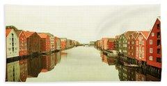 Trondheim On A Rainy Day Beach Towel