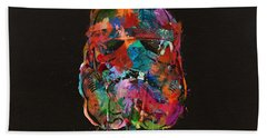 Trooper In A Storm Of Color Beach Towel by Mitch Boyce