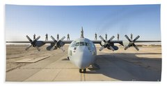 Troops Stand On The Wings Of A C-130 Beach Towel