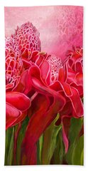 Beach Towel featuring the mixed media Tropic Garden - Torch Ginger by Carol Cavalaris