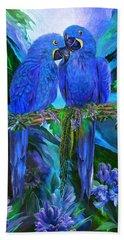 Beach Towel featuring the mixed media Tropic Spirits - Hyacinth Macaws by Carol Cavalaris