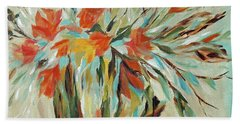 Beach Towel featuring the painting Tropical Arrangement by Joanne Smoley