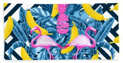 Tropical Banana Pink   Beach Towel