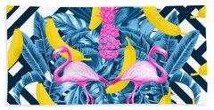 Tropical Banana Pink   Beach Towel