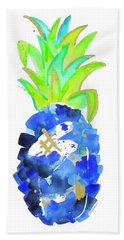 Tropical Cobalt Blue Pineapple Beach Towel