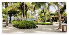 Beach Towel featuring the photograph Tropical Courtyard by Lawrence Burry