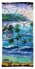 Tropical Cove  Fresco Triptych 2 Beach Sheet