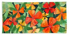 Beach Towel featuring the painting Tropical Flower Splash by Kristen Fox