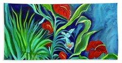 Tropical Flowers 1 Beach Towel
