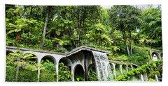 Tropical Gardens Waterfall Beach Towel