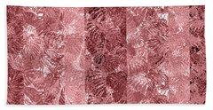 Beach Towel featuring the digital art Tropical Leaf Stripes Dusty Cedar by Karen Dyson