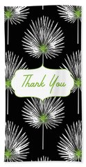 Tropical Leaf Thank You Black- Art By Linda Woods Beach Towel