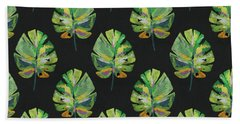 Beach Towel featuring the mixed media Tropical Leaves On Black- Art By Linda Woods by Linda Woods