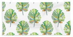 Beach Towel featuring the mixed media Tropical Leaves On White- Art By Linda Woods by Linda Woods