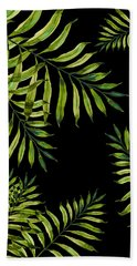 Tropical Night - Greenery On Black Beach Towel