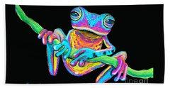Tropical Rainbow Frog On A Vine Beach Towel