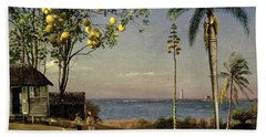 Tropical Scene Beach Towel by Albert Bierstadt