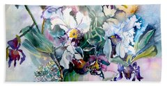 Tropical White Orchids Beach Towel