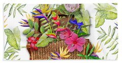 Tropicals In A Basket Beach Towel by Larry Bishop