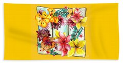 Beach Towel featuring the photograph Tropicana On Yellow By Kaye Menner by Kaye Menner