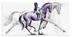 Trot On - Dressage Horse Print Color Tinted Beach Towel