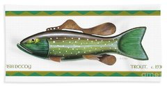 Trout Ice Fishing Decoy Beach Towel