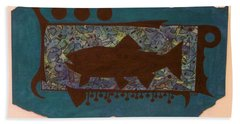 Trout Silhouette Beach Towel