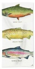 Trout Species Beach Towel by Juan Bosco