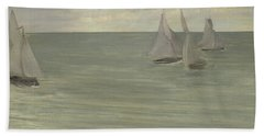 Trouville  Grey And Green, The Silver Sea Beach Towel