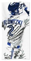 Troy Tulowitzki Toronto Blue Jays Pixel Art 2 Beach Towel by Joe Hamilton