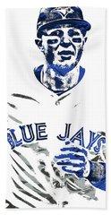 Beach Towel featuring the mixed media Troy Tulowitzki Toronto Blue Jays Pixel Art by Joe Hamilton